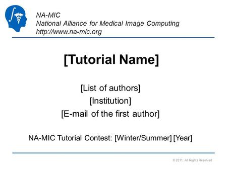 NA-MIC National Alliance for Medical Image Computing  [Tutorial Name] [List of authors] [Institution] [ of the first author]