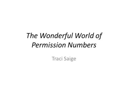 The Wonderful World of Permission Numbers Traci Saige.