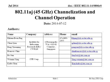 Doc.: IEEE 802.11-14/0806r0 SubmissionSlide 1 Date: 2014-07-12 Authors: 802.11aj (45 GHz) Channelization and Channel Operation Jul 2014 Bo Sun, ZTE Corp.