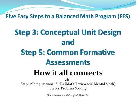 How it all connects with Step 1: Computational Skills (Math Review and Mental Math) Step 2: Problem Solving (Elementary does Step 4: Math Facts)