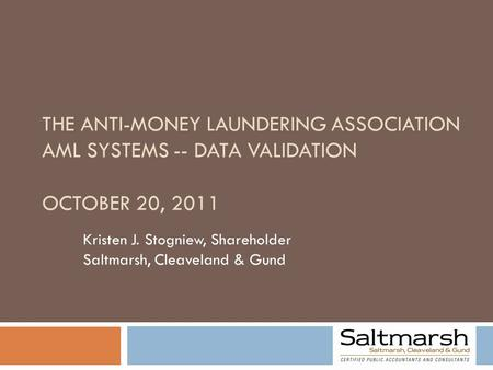 THE ANTI-MONEY LAUNDERING ASSOCIATION AML SYSTEMS -- DATA VALIDATION OCTOBER 20, 2011 Kristen J. Stogniew, Shareholder Saltmarsh, Cleaveland & Gund.