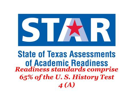 Readiness standards comprise 65% of the U. S. History Test 4 (A)