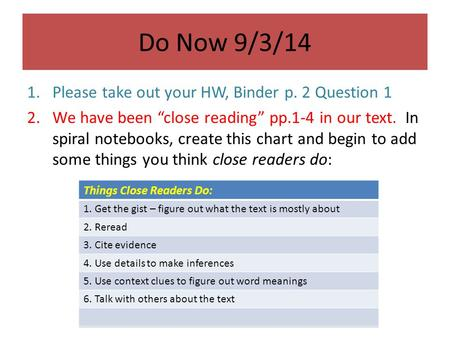 "Do Now 9/3/14 1.Please take out your HW, Binder p. 2 Question 1 2.We have been ""close reading"" pp.1-4 in our text. In spiral notebooks, create this chart."