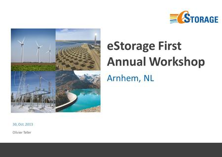 EStorage First Annual Workshop Arnhem, NL 30, Oct. 2013 Olivier Teller.