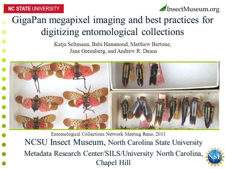 GigaPan megapixel imaging and best practices for digitizing entomological collections NCSU Insect Museum, North Carolina State University Metadata Research.