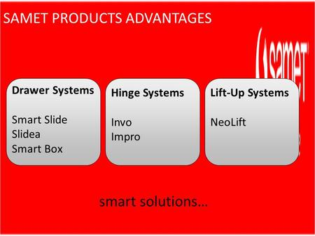Drawer Systems Smart Slide Slidea Smart Box smart solutions… Hinge Systems Invo Impro Lift-Up Systems NeoLift SAMET PRODUCTS ADVANTAGES.