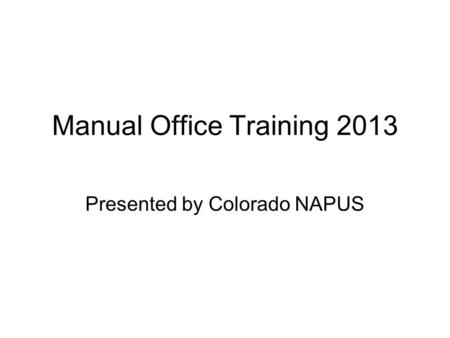 Manual Office Training 2013
