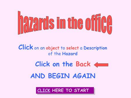 INTRODUCTION Click on an object to select a Description of the Hazard Click on the Back AND BEGIN AGAIN CLICK HERE TO START CLICK HERE TO START.