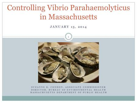 JANUARY 13, 2014 Controlling Vibrio Parahaemolyticus in Massachusetts SUZANNE K. CONDON, ASSOCIATE COMMISSIONER DIRECTOR, BUREAU OF ENVIRONMENTAL HEALTH.