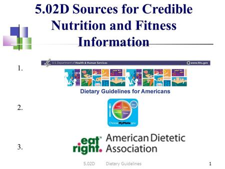 5.02D Sources for Credible Nutrition and Fitness Information 15.02DDietary Guidelines 1. 3. 2.
