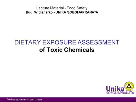 DIETARY EXPOSURE ASSESSMENT of Toxic Chemicals Lecture Material - Food Safety Budi Widianarko - UNIKA SOEGIJAPRANATA.