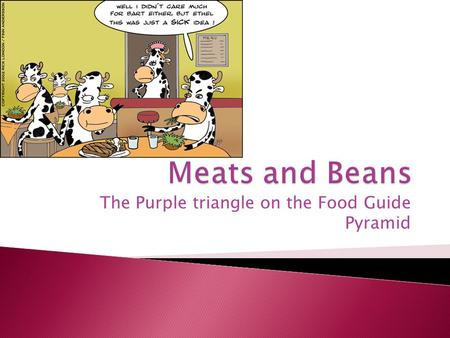 The Purple triangle on the Food Guide Pyramid.  Meat is the fat, muscle, and organs from any animal.  Meat can come from cows, sheep, pigs, chicken,