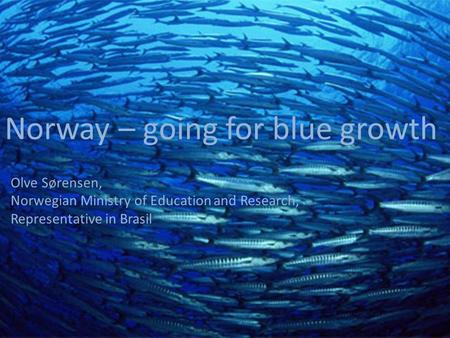 1 Norway – going for blue growth Olve Sørensen, Norwegian Ministry of Education and Research, Representative in Brasil.