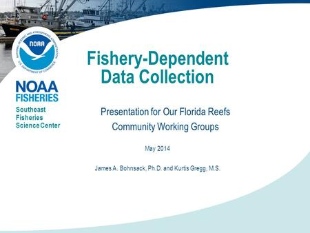 Fishery-Dependent Data Collection Presentation for Our Florida Reefs Community Working Groups Southeast Fisheries Science Center May 2014 James A. Bohnsack,