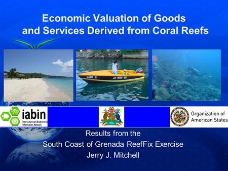 Economic Valuation of Goods and Services Derived from Coral Reefs Results from the South Coast of Grenada ReefFix Exercise Jerry J. Mitchell.