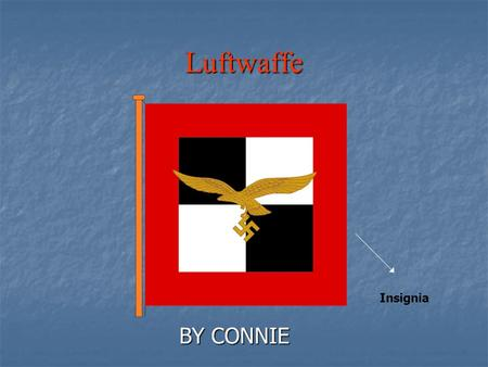 Luftwaffe BY CONNIE Insignia. What is the Luftwaffe? The Luftwaffe was the German air force in WW2 The Luftwaffe was the German air force in WW2 Luftwaffe.