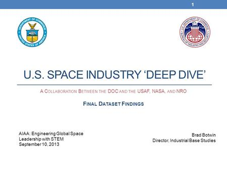 Source: U.S. Department of Commerce, Bureau of Industry and Security, U.S. Space Industry Deep Dive Assessment, September 2013. U.S. SPACE INDUSTRY 'DEEP.