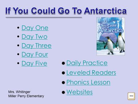 Day One Day Two Day Three Day Four Day Five  Daily Practice Daily Practice  Leveled Readers Leveled Readers  Phonics Lesson Phonics Lesson  Websites.