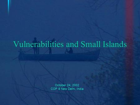 Vulnerabilities and Small Islands October 24, 2002 COP 8 New Delhi, India.