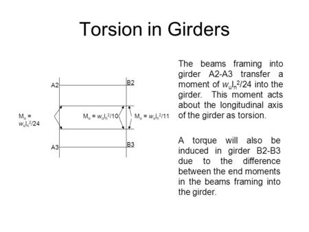 Torsion in Girders A2 A3 M u = w u l n 2 /24 M u = w u l n 2 /10M u = w u l n 2 /11 B2 B3 The beams framing into girder A2-A3 transfer a moment of w u.