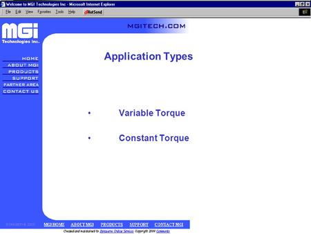 Application Types Variable Torque Constant Torque.