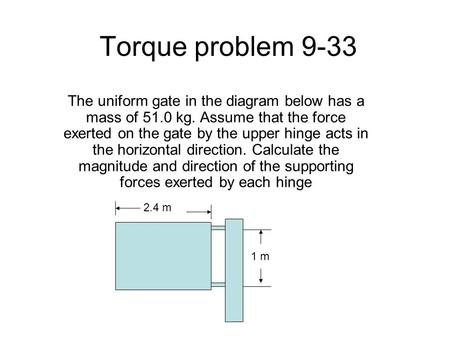 Torque problem 9-33 The uniform gate in the diagram below has a mass of 51.0 kg. Assume that the force exerted on the gate by the upper hinge acts in the.