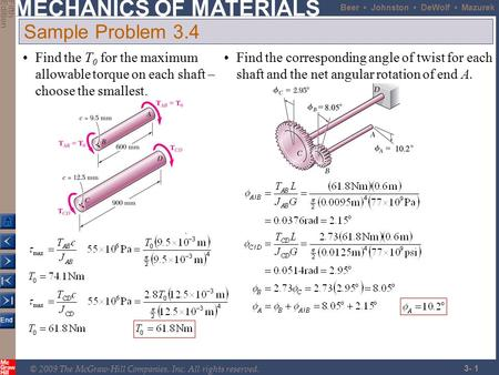 Sample Problem 3.4 Find the T0 for the maximum allowable torque on each shaft – choose the smallest. Find the corresponding angle of twist for each shaft.