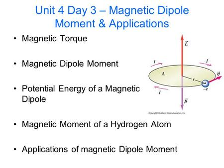 Unit 4 Day 3 – Magnetic Dipole Moment & Applications Magnetic Torque Magnetic Dipole Moment Potential Energy of a Magnetic Dipole Magnetic Moment of a.