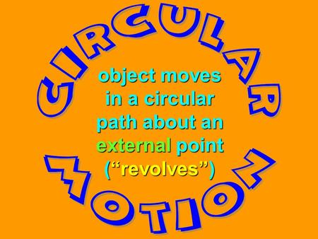 "object moves in a circular path about an external point (""revolves"")"