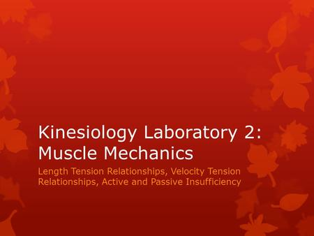 Kinesiology Laboratory 2: Muscle Mechanics Length Tension Relationships, Velocity Tension Relationships, Active and Passive Insufficiency.
