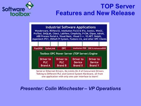 TOP Server Features and New Release Presenter: Colin Winchester – VP Operations.