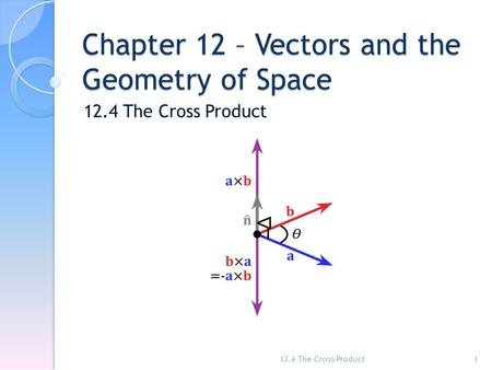 Chapter 12 – Vectors and the Geometry of Space 12.4 The Cross Product 1.