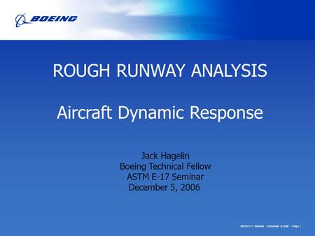 Aircraft Dynamic Response
