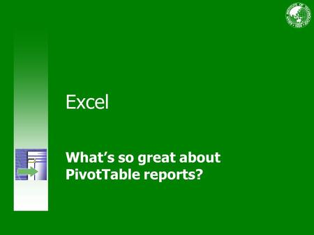 Excel What's so great about PivotTable reports?. Course contents Overview: More data than you can handle? Lesson 1: Make your data work for you Lesson.