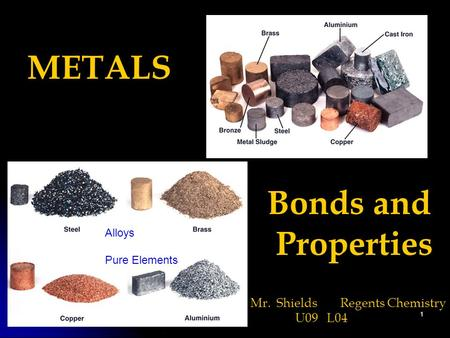1 METALS Bonds and Properties Mr. ShieldsRegents Chemistry U09 L04 Alloys Pure Elements.