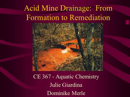 Acid Mine Drainage: From Formation to Remediation CE 367 - Aquatic Chemistry Julie Giardina Dominike Merle.
