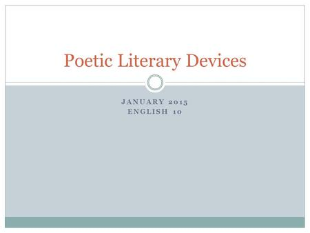Poetic Literary Devices