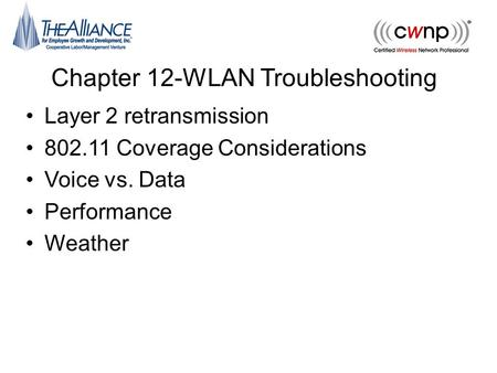Chapter 12-WLAN Troubleshooting