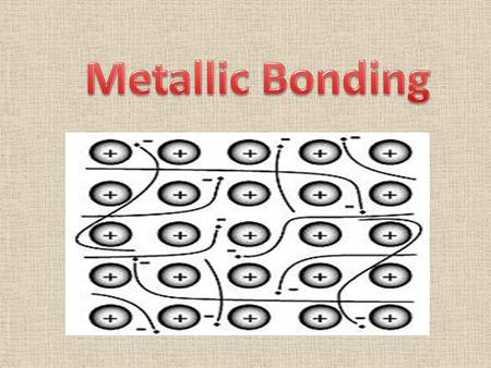 Metallic Bonding Chemical bonding is different in metals than it is in ionic, molecular, or covalent-network compounds. The unique characteristics of.