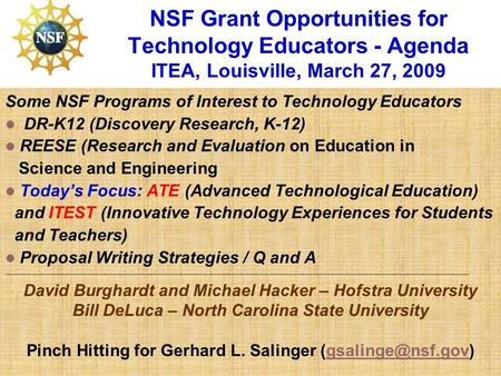NSF Grant Opportunities for Technology Educators - Agenda ITEA, Louisville, March 27, 2009 Some NSF Programs of Interest to Technology Educators DR-K12.