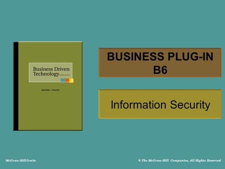McGraw-Hill/Irwin © The McGraw-Hill Companies, All Rights Reserved BUSINESS PLUG-IN B6 Information Security.