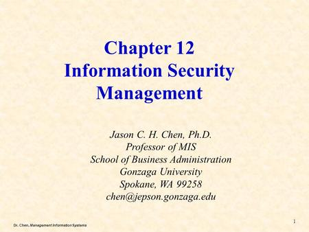 Chapter 12 Information Security Management