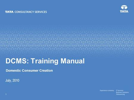Text 1 July, 2010 DCMS: Training Manual Domestic Consumer Creation.