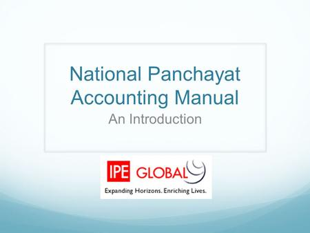 National Panchayat Accounting Manual An Introduction.