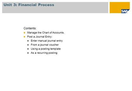 Unit 3: Financial Process