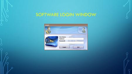 SOFTWARE LOGIN WINDOW. MAIN DESKTOP WITH STUDENT STRENGTH AND MONTHLY FEE STATUS.