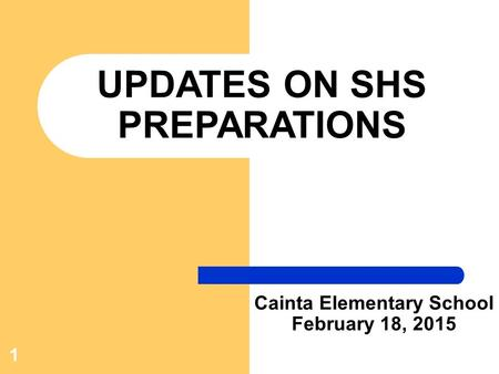 1 UPDATES ON SHS PREPARATIONS Cainta Elementary School February 18, 2015.
