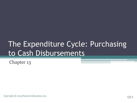 Copyright © 2015 Pearson Education, Inc. The Expenditure Cycle: Purchasing to Cash Disbursements Chapter 13 13-1.