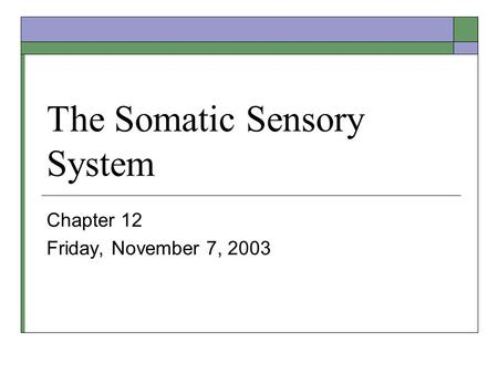 The Somatic Sensory System Chapter 12 Friday, November 7, 2003.