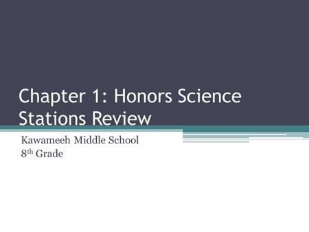Chapter 1: Honors Science Stations Review Kawameeh Middle School 8 th Grade.